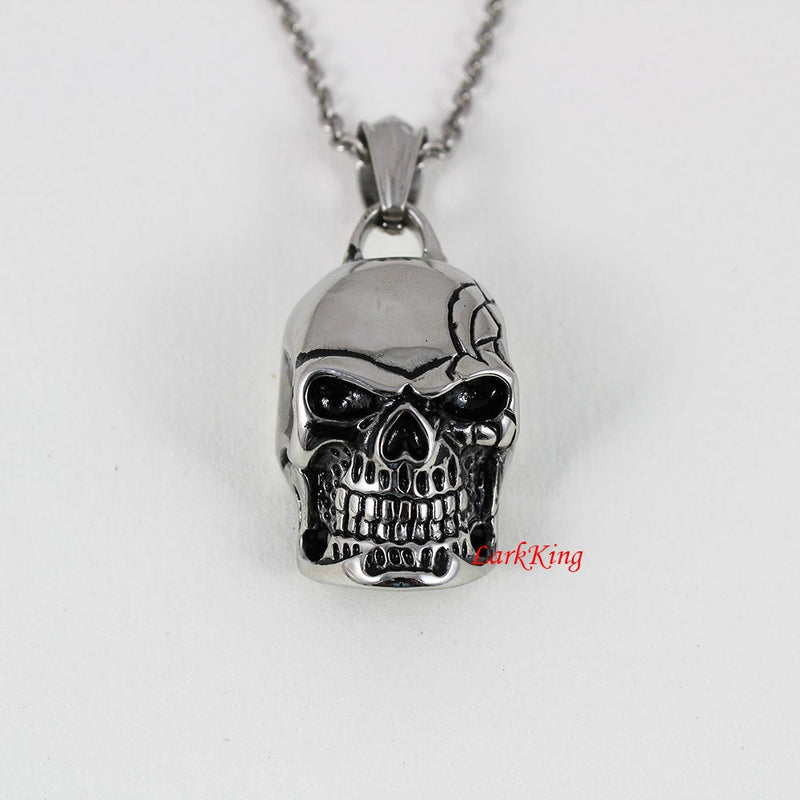 Skull necklace, skeleton necklace, 316L stainless steel pendant, skull pendant, skull mask necklace, steel skull, halloween skull, NE7089