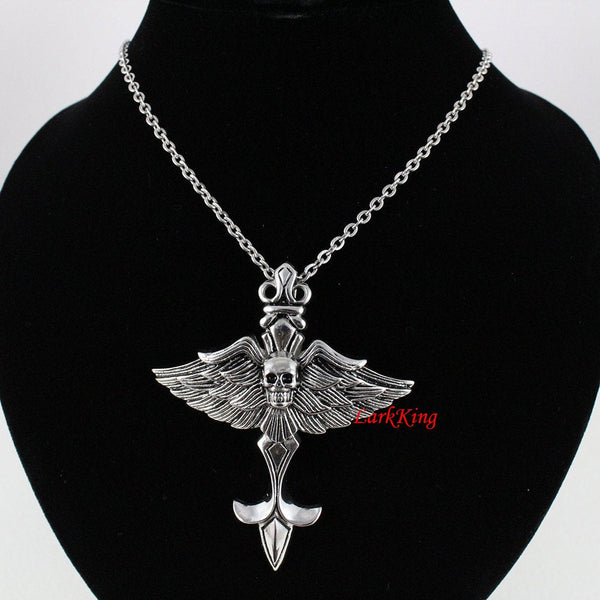 Large winged skull necklace, skull sword necklace, wings pendant, skull jewelry, winged skull, bird skull necklace, men necklace;  NE7091
