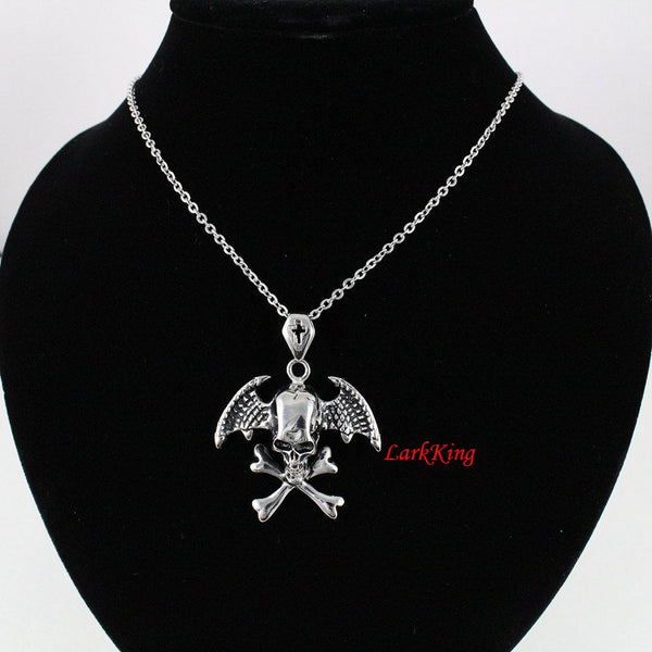 Cross winged skull necklace, cross necklace, wing necklace, pirate skull necklace, winged skull, cross skull necklace, men necklace;  NE7092