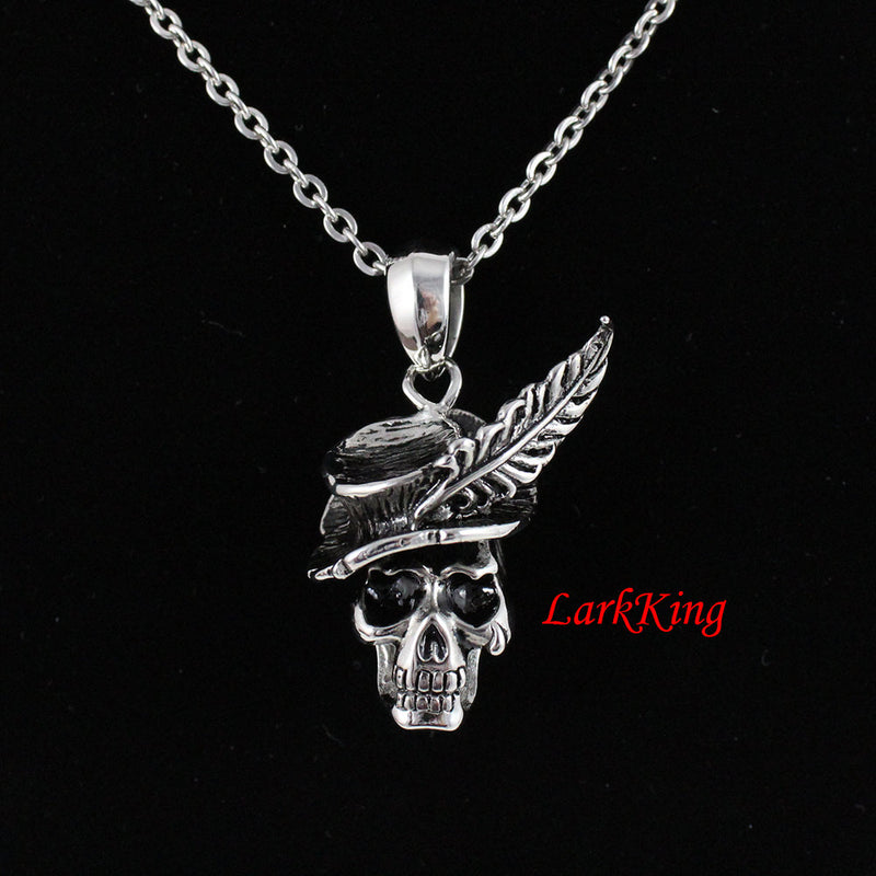 Skull necklace, skeleton necklace, skull pendant, stainless steel, skull jewelry, skull gifts, steel skull, halloween skeleton, NE7078