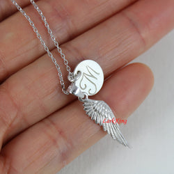 Sterling silver angel wing necklace, personalized necklace, initial necklace, angel wing pendant, customized necklace, unique gift, NE8282