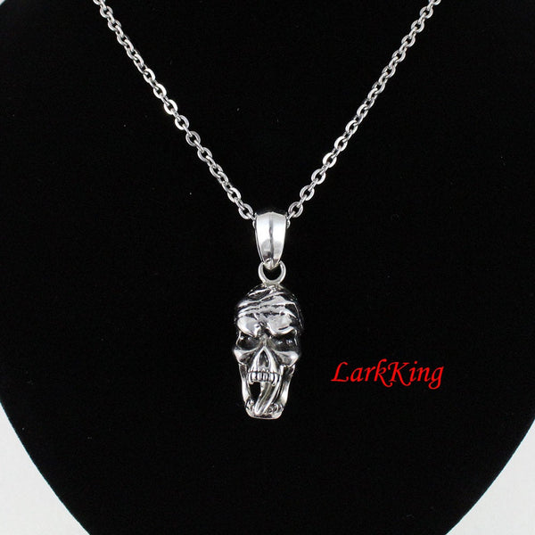 Skull necklace, skull pendant, skeleton necklace, stainless steel, skull jewelry for women, for men, skull gifts, halloween skull, NE7084
