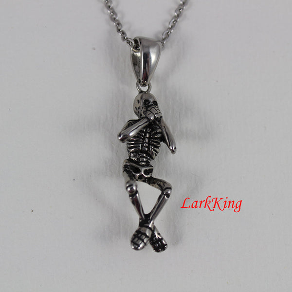 Skeleton necklace, skeleton pendant, skeleton charm, skull necklace, skull pendant, skull gifts, halloween skull, stainless steel, NE7073