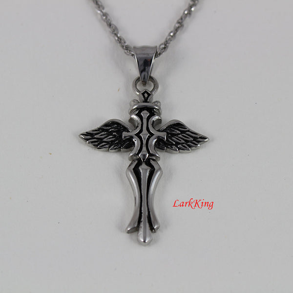 Stainless steel cross necklace, steel cross, wing necklace, cross necklace men, cross pendant, cross necklace women, men cross, NE5080