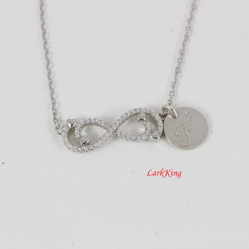 Sterling silver infinity heart necklace; personalized infinity necklace; initial necklace; heart infinity charm; customized necklace; NE8276