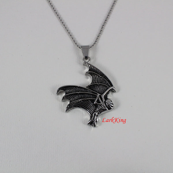 Bat necklace, animal necklace, bird necklace, stainless steel, bat charm, bat head necklace, bat pendant, unique bat, popular bat, NE7010