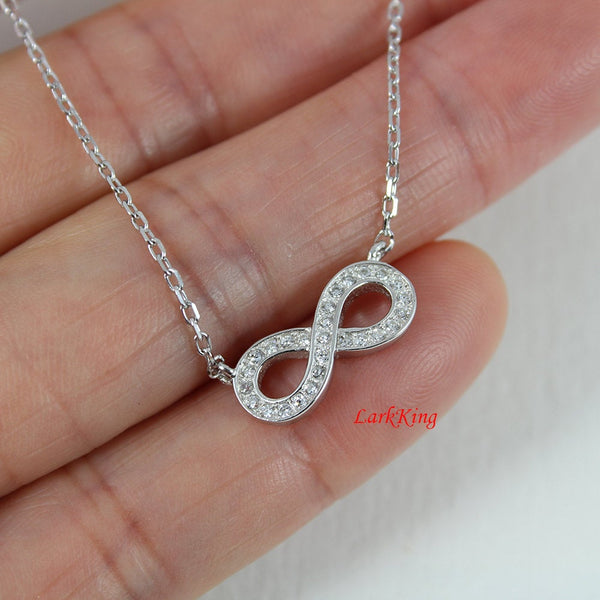 Sterling silver infinity necklace; personalized infinity necklace; initial necklace; infinity necklace for her; customized necklace; NE8269