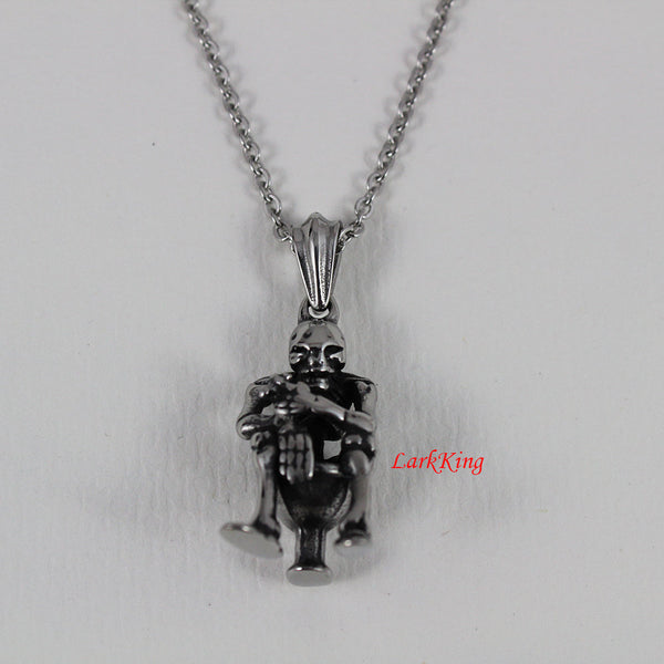 Skeleton necklace, skeleton jewelry, skeleton pendant, skeleton charm, skull necklace, skull pendant, stainless steel, NE7033