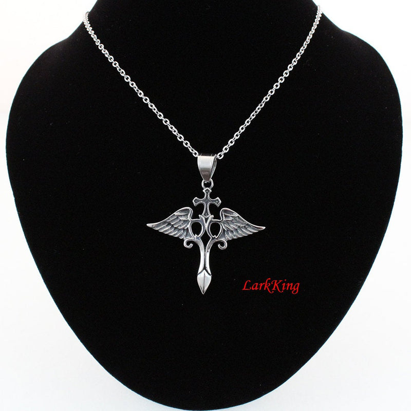 Cross necklace, steel cross, wing necklace, stainless steel, cross pendant, cross necklace women, men cross, catholic necklace, NE5043