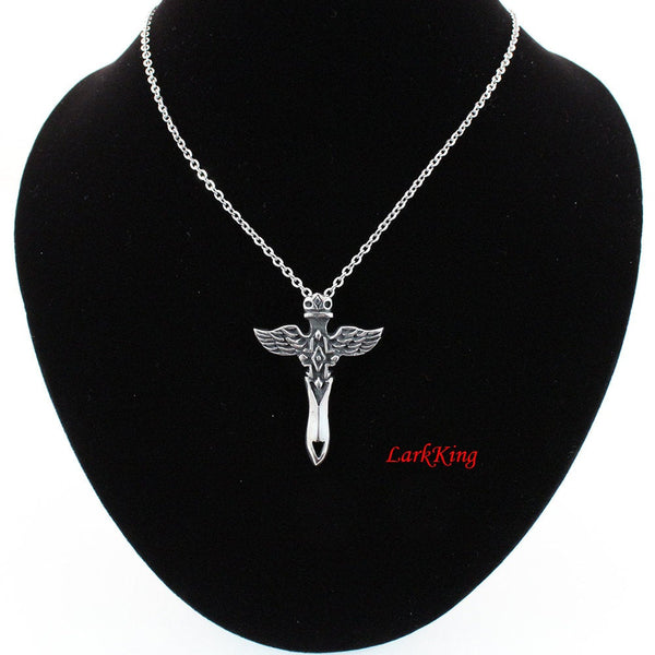 Stainless steel cross necklace, winged cross necklace, St.Micheal necklace, cross necklace women, cross necklace men, boys cross; NE5051