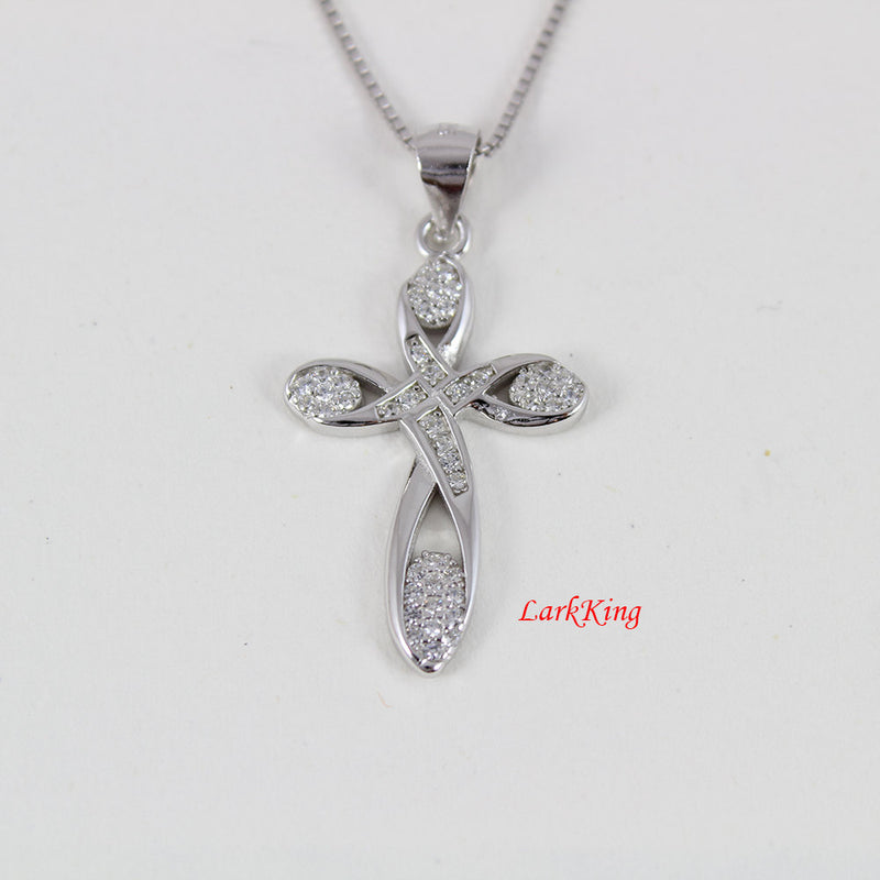Infinity cross necklace, sterling silver necklace, religious necklace, gift for her, christian jewelry, baptism gift, cross jewelry, NE8222