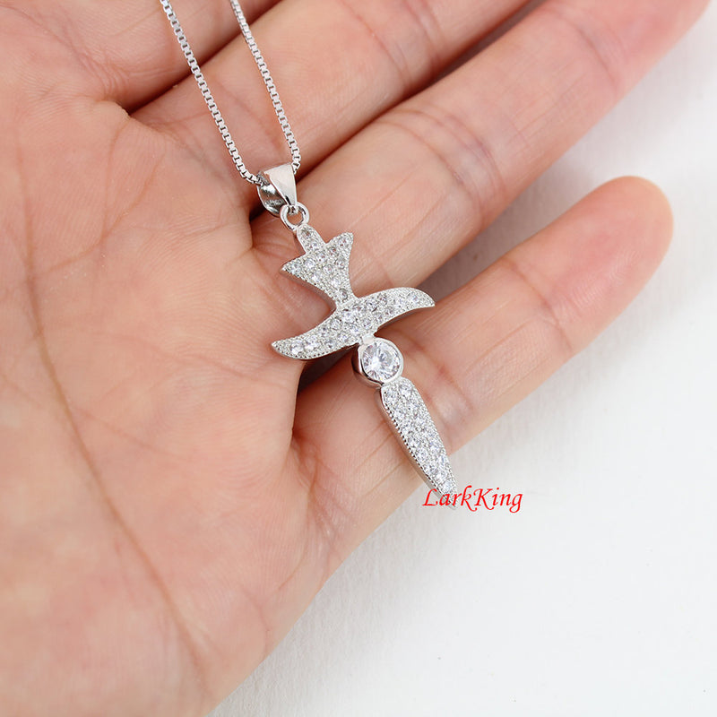 Cross necklace, sterling silver, sword necklace, religious necklace, zircon crystal, christian jewelry, baptism gift, cross jewelry, NE8227