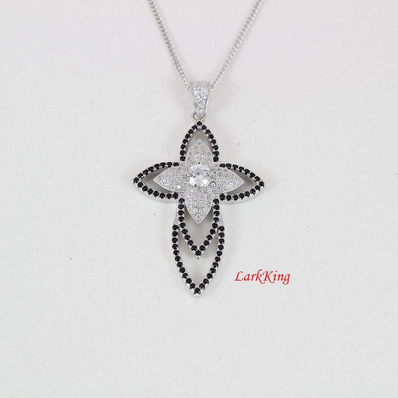 Large cross necklace, sterling silver flower cross necklace, flower silver necklace, zircon crystal, gift for her, cross jewelry, NE8229
