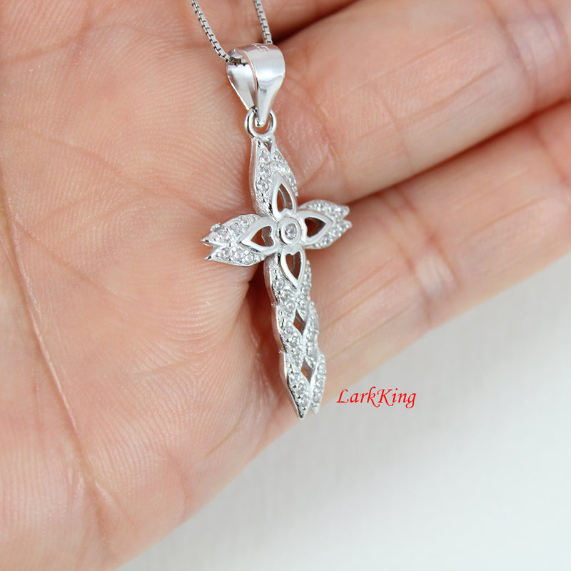 Cross heart necklace, cross necklace, sterling silver necklace, flower necklace, religious necklace, baptism cross, cross jewelry, NE8231