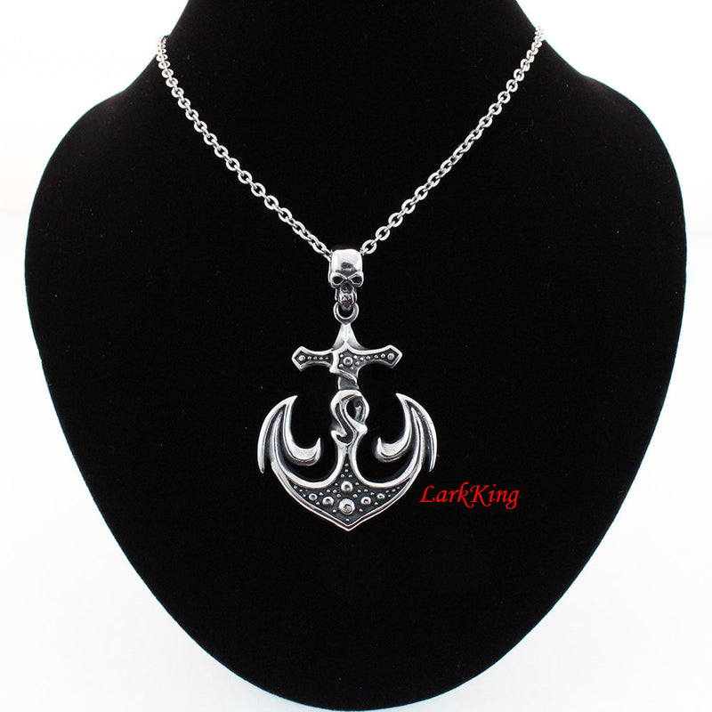 Scull cross anchor necklace, skull necklace, cross necklace, anchor necklace, necklace for men, sailor necklace, sailing gift, NE5061
