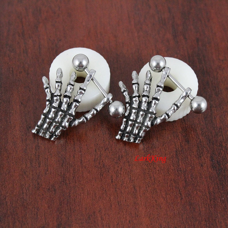 Stud earrings, finger stud earrings, hand bone, finger studs, finger earrings, unique gifts, unique stud, statement earrings, LarkKing ER395