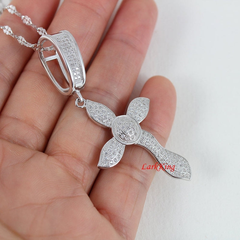 Large cross necklace, cross necklace women, sterling silver cross, girls cross, girls cross necklace, religious jewely, cross gifts, NE8256