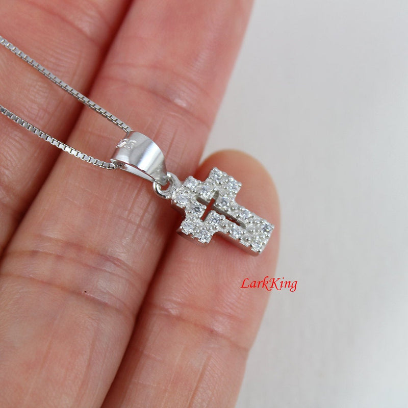 Tiny cross necklace, sterling silver cross necklace, silver necklace, silver cross, christian necklace, christian cross, unique gift; NE8268