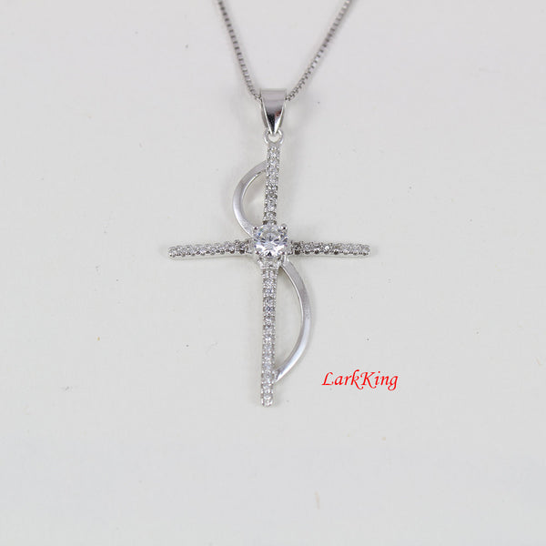 Infinity cross necklace, unique cross; sterling silver cross necklace, cross jewelry, girl cross; christian gift, christian cross, NE8273