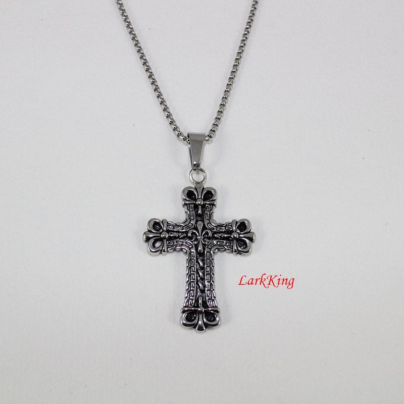 Stainless steel cross necklace, fleur de lis on cross necklace, unique cross, women cross, cross necklace men, Christmas cross, NE5022