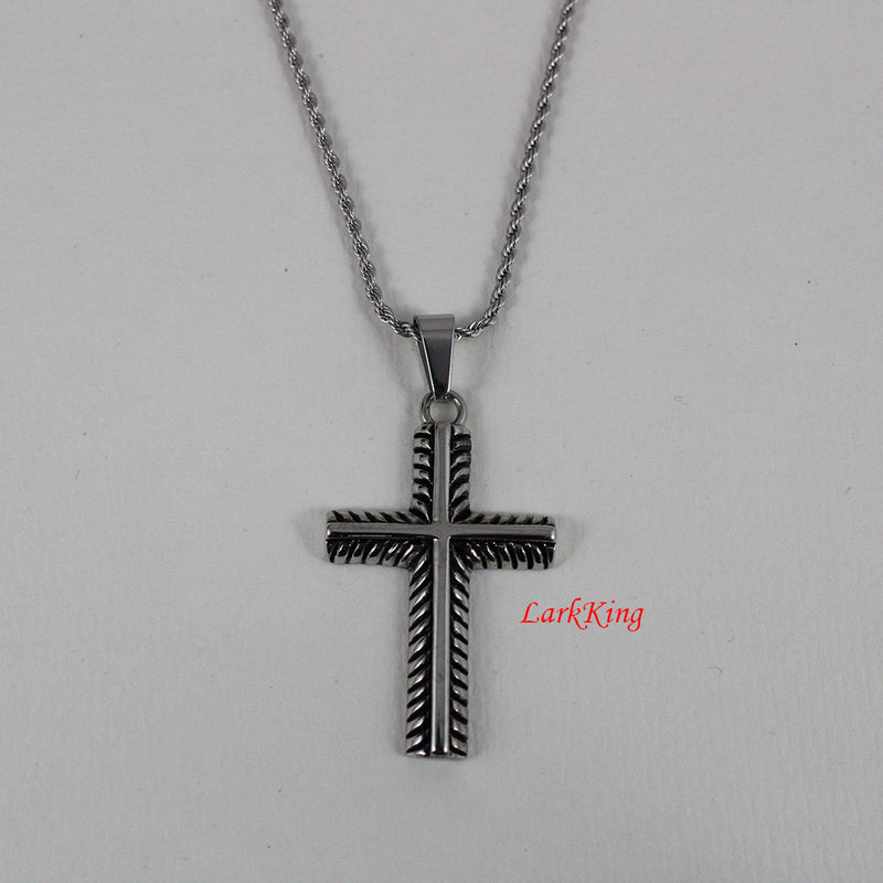 Stainless steel cross necklace, cross gift, baptism gift, first communion gift, christening gift, communion gift, catholic gift, NE5027