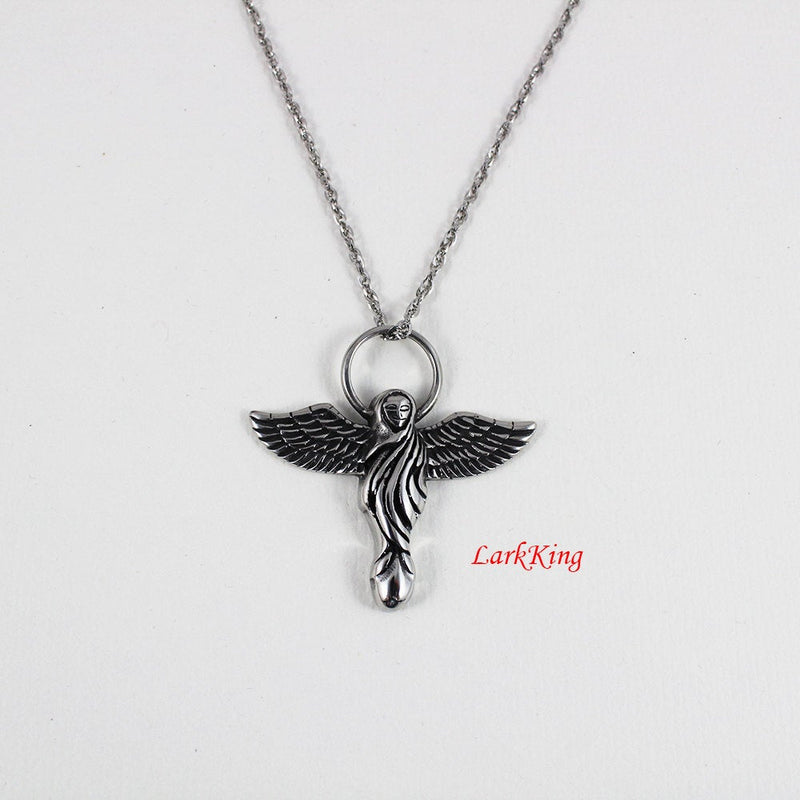 Robed Angel Necklace, Outspread Wings Angel Pendant, Haloed Angel Necklace, Flying Hooded Angel Pendant, LarkKing NE7060