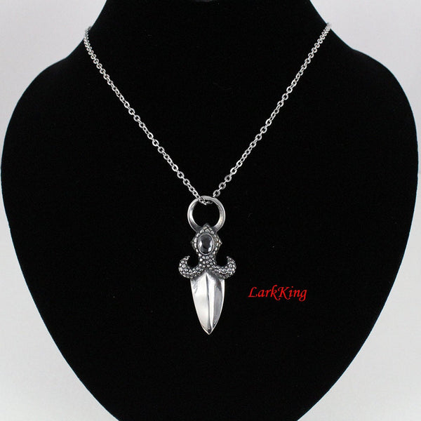 Jeweled Scale-Handle Dagger Pendant, Gemmed Acorn Dagger Necklace, Double-Sided Dagger Pendant, LarkKing NE7059
