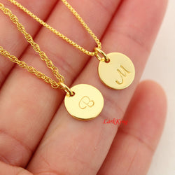 Gold filled sterling silver initial necklace, gold initial necklace,  monogram necklace gold, small initial necklace gold, NE8001