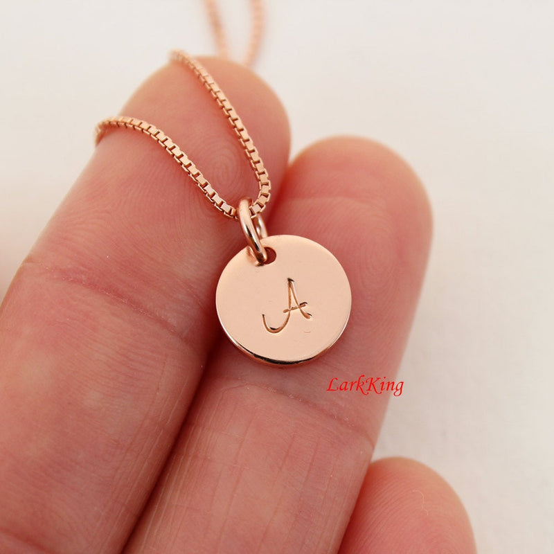 Rose gold filled sterling silver initial necklace, rose gold initial necklace,  monogram necklace rose gold, small initial necklace, NE8002