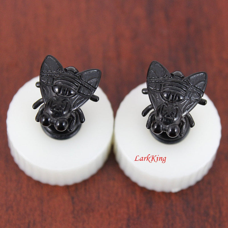 Fly stud earrings; black earrings, black studs; insect stud earrings, unique stud earrings; black fly earring; surgical steel studs,  SE3019