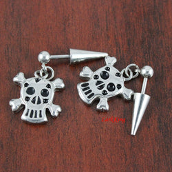 Pirate stud earrings; skull  earrings; tangle skull earrings; cute skull earrings; funky earrings; earrings for men; earrings women; SE3111