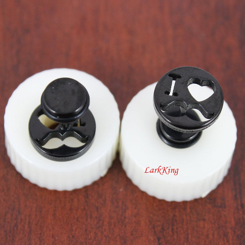 I love beard stud earrings; beard stud earring; love earrings; black studs; black earrings; funky earrings; statement stud earrings; SE3135