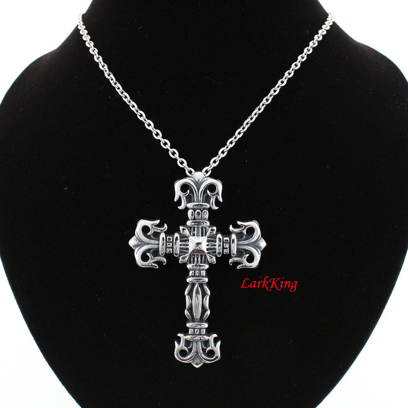 Stainless steel cross necklace, large cross pendant, statement cross; men cross necklace; communion gift, unique gift, catholic gift, NE5040