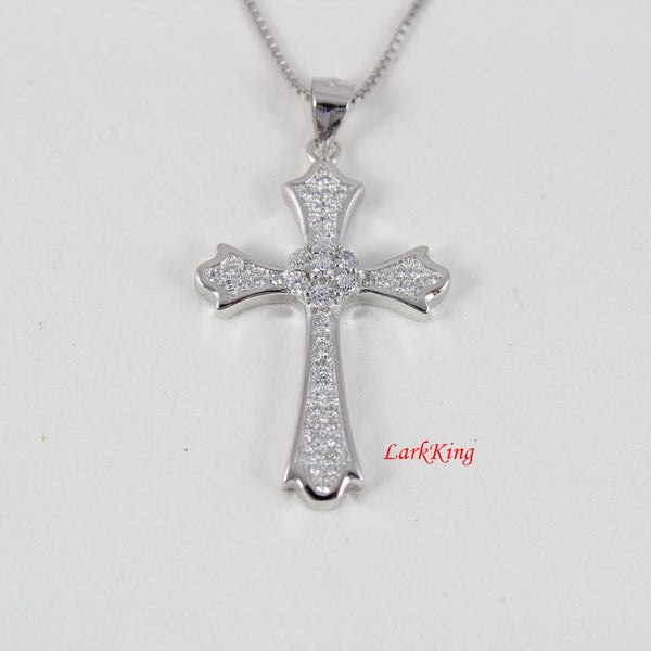 Sterling silver cross necklace, flower cross necklace, cross necklace women, girls cross , zircon crystal  cross, religious gift, NE8275