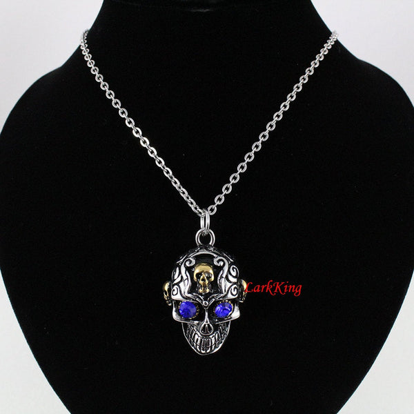 Skull necklace, multiple skull necklace, stainless steel 316L charm, skull pendant, skull mask necklace, steel skull, men necklace;  NE7090
