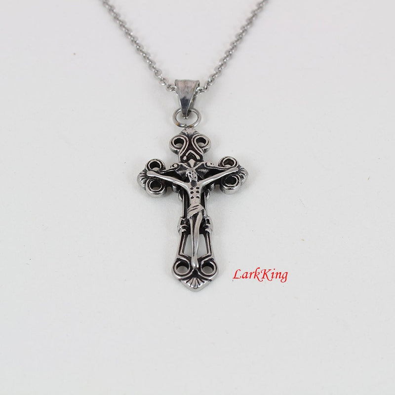 Stainless steel cross necklace, crusifix, Jesus cross necklace, cross necklace men, religious cross, baptism cross, cross for women; NE5034