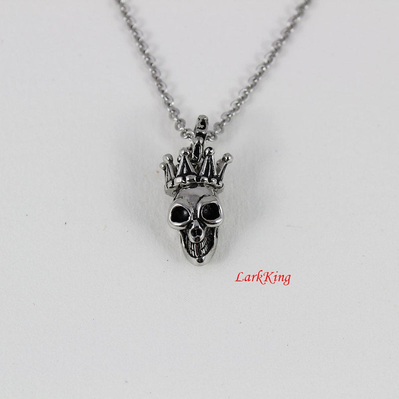 Crown skull necklace; queen necklace; skull necklace; crown necklace; girls necklace; women necklace, unique gift for her; Larkking  NE7098
