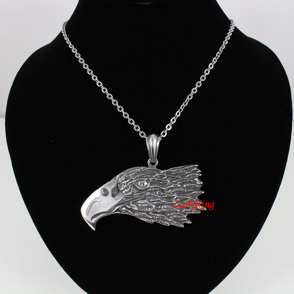 Large bold eagle head necklace; unique eagle pendant; animal necklace; nature necklace; men necklace; stainless steel; gift for him; NE7051