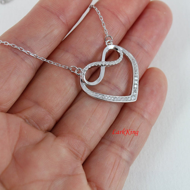 Sterling silver infinity heart necklace; personalized necklace; initial necklace; large infinity heart pendant; customized necklace; NE8292