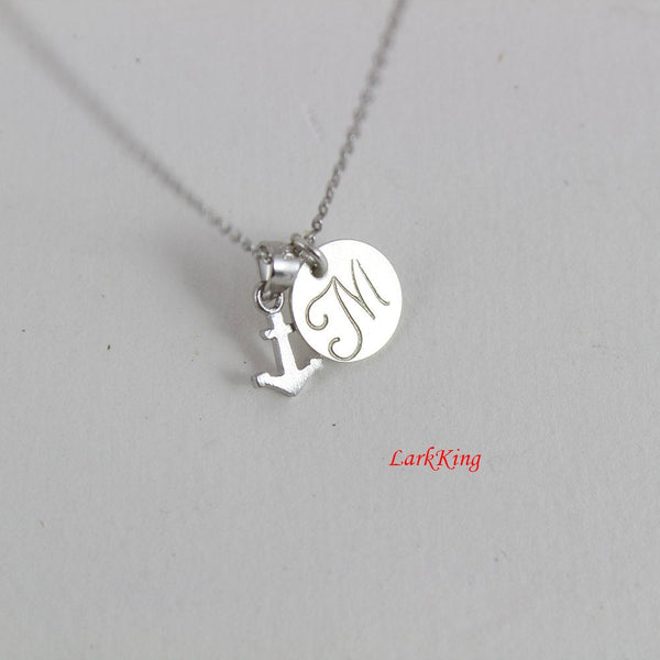 Tiny sterling silver anchor necklace; personalized necklace; initial necklace; girls necklace; boys necklace; cute anchor charm; NE8283