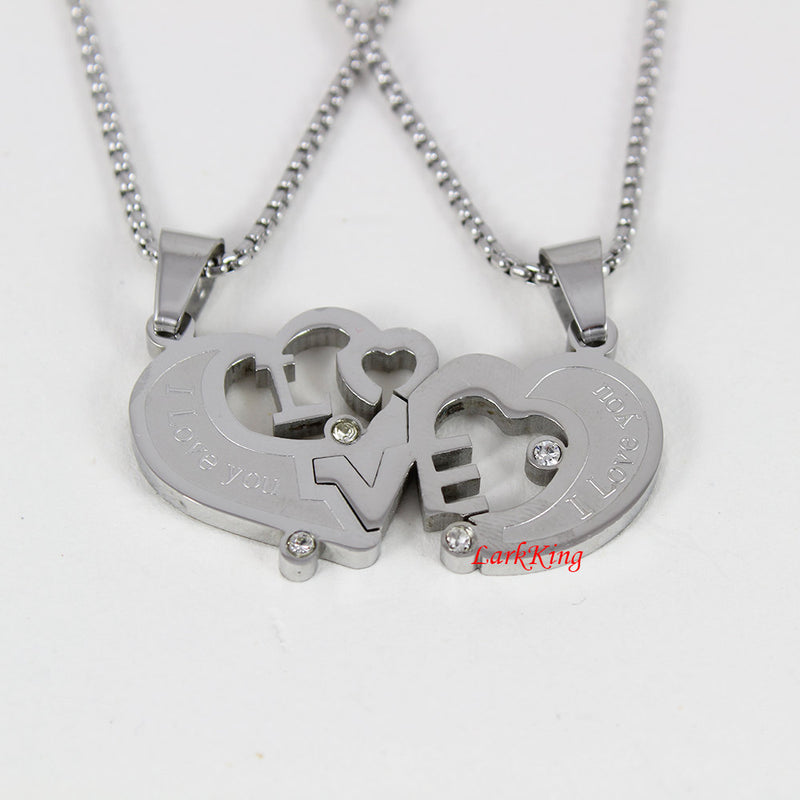 Stainless steel couples heart necklace, couples necklace, anniversary necklace, love necklace, I love you necklace, steel heart, NE601