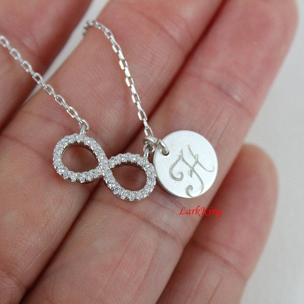 Sterling silver infinity necklace; personalized infinity necklace; initial necklace; silver infinity charm; customized necklace; NE8262