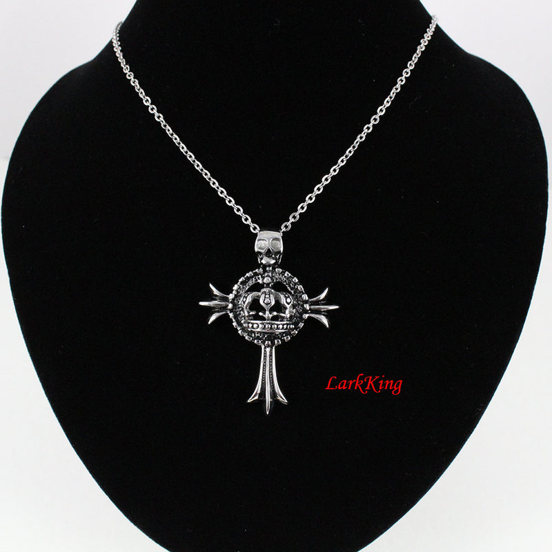 Stainless steel cross necklace, crown cross necklace, skull cross, women cross necklace, mens cross necklace, catholic jewelry, NE5009