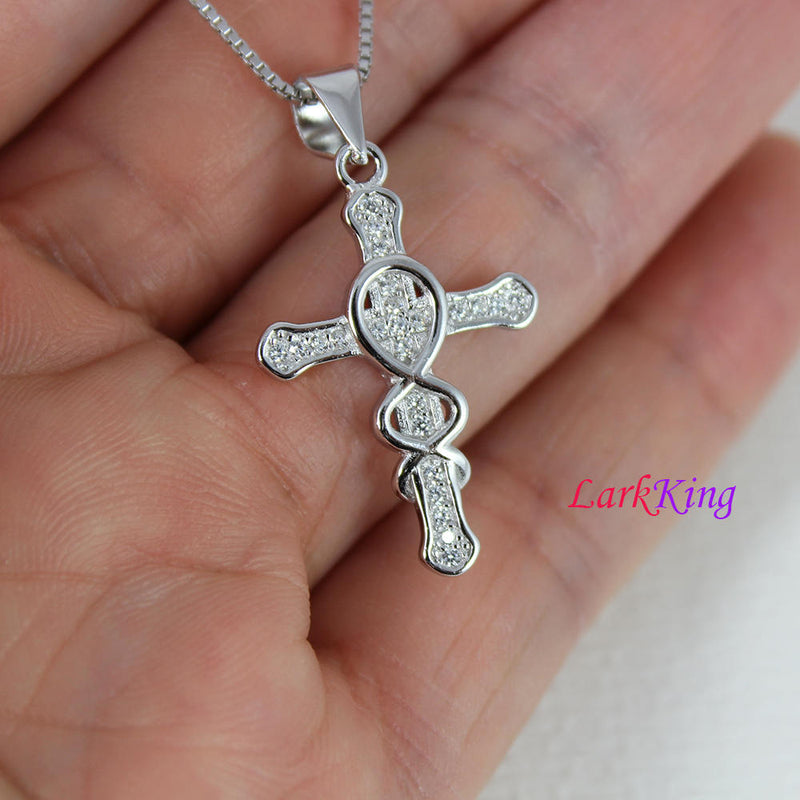 Small sterling silver cross necklace,  infinity cross necklace, unique cross pendant, cross , christian necklace, christian cross, NE8304