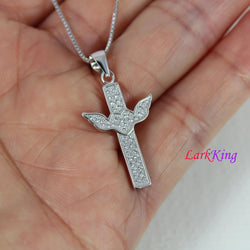 Sterling silver cross necklace, wings necklace, cross heart necklace, cross charm, girl cross, unique cross pendant, christian cross, NE8314