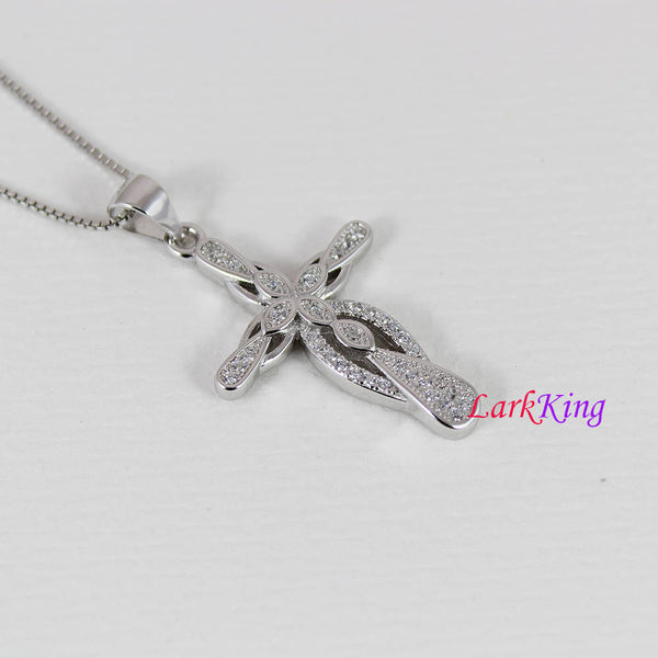 Sterling silver cross necklace, flower cross necklace, infinity necklace, unique cross pendant, christian gift, christian cross, NE8319