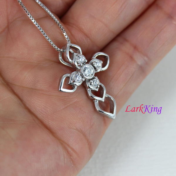 Sterling silver cross necklace, cross heart necklace, flower cross pendant, unique cross pendant, Baptism cross, christian cross, NE8322