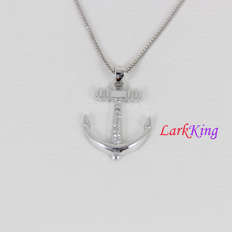 Sterling silver anchor necklace; sailor necklace, hooked anchor cross necklace, boys necklace, best friend necklace, sailing gift, NE8337