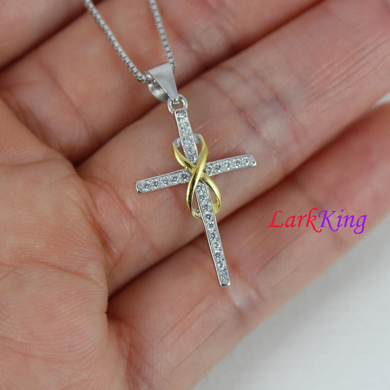 Sterling silver cross necklace, infinity cross necklace, small cross necklace, cross necklace women, christian gift, christian cross, NE8339