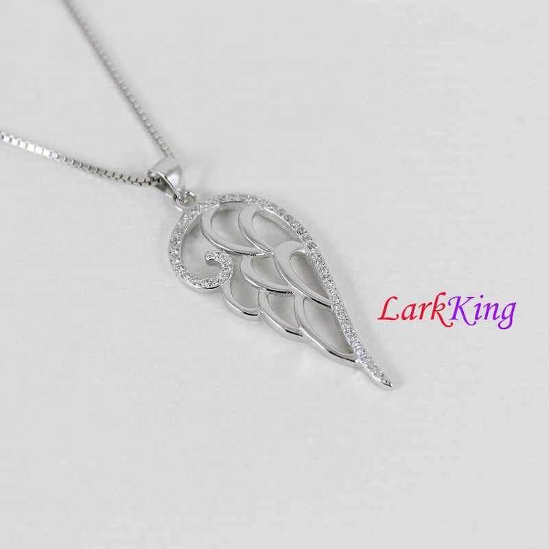 Sterling silver angel wing necklace, feather necklace, stylized wing necklace, wing gift, girls wing necklace, wing necklace women, NE8341